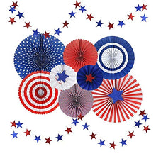 USA Flag Style Paper Fans Patriotic Party Decor - Red/Navy Blue/White/Orange - Vivid and Shiny - Hanging Fans & Star Streamers for Birthday, Fiesta, Carnival Celebration, Set of 10