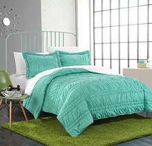 Chic Home 2 Piece Dreamer Super Soft Microfiber Pleated Ruffled Technique Quilt Set, Twin, Turquoise