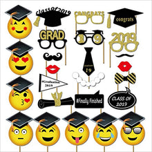 SWYOUN 25PCS Class Of 2019 Graduation Grad Party Supplies Masks Emoji Photo Booth Props