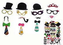 58pcs Photo Booth Props Creative Fun Party Favor Set for Wedding Birthday Reunions Dressup Costumes with Mustache on a Stick, Pipes, Hats, Glasses, Lips, Bowties.
