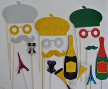 Parisian Inspired Deluxe Holiday Wedding Photo Booth Props BIrthday props Mustache on a stick