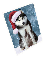 Let it Snow Christmas Holiday Husky Dog Wearing Santa Hat Art Portrait Print Woven Throw Sherpa Plush Fleece Blanket D037 (50x60 Fleece)