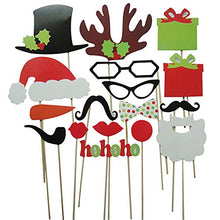 Sanwood 17Pcs DIY Photo Funny Booth Props Mustache Lip Hat Antler Gift Stick Christmas Party