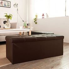 So Buy Faux Leather Storage Ottoman,Folding Storage Bench With Seat Cushion,Fss16 El Ka Brown, 110cm