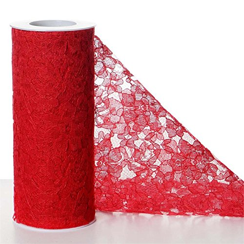 6 inches x 30 feet LACE Fabric Ribbon ROLL Pattern Design DIY Crafts Favors Sale (Red)