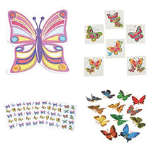 BUTTERFLY Birthday PARTY FAVORS - 12 Notebooks - 36 TATTOOS 12 Butterfly FIGURES - 120 Stickers - NATURE Insects BUTTERFLIES