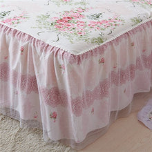 Romantic Ruffle Bed Skirt 1pc Vintage French Floral Girls Lace Ruffled Cotton Rose Floral Blue Pink