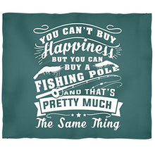 You Can't Buy Happiness Soft Fleece Throw Blanket, You Can Buy Fishing Pole Stadium Blanket (Small 40