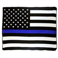 AES Wholesale (12) USA Thin Blue Line 50x60 Polar Fleece Blanket Throw Plush