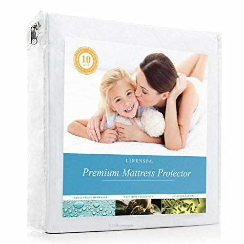 Linenspa Premium Smooth Fabric Mattress Protector   100% Waterproof   Hypoallergenic   Top Protectio