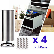 Qrity 4 X 150mm (Height) Cabinet Stainless Steel Legs Kitchen Feet Worktop Tv Desk Table Legs Furnitu