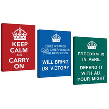 ArtWall UK War Propaganda 3-Piece Keep Calm and Carry on Gallery Wrapped Canvas Art, 24 by 32-Inch