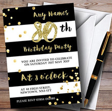 Black & White Stripy Gold Confetti 80th Personalized Birthday Party Invitations