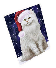 Let it Snow Christmas Holiday Tiffany Cat Wearing Santa Hat Art Portrait Print Woven Throw Sherpa Plush Fleece Blanket D072 (50x60 Fleece)