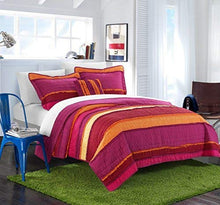 Chic Home 3 Piece Italica Ruffled Multi Colored Global Design Quilt Set, Twin, Purple