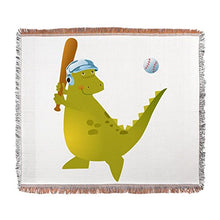 Woven Blanket Baseball Playing Dinosaur