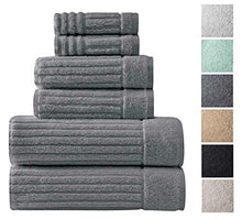 Classic Turkish Towels 6 Piece Heavy Duty Fast Drying Bath Sets Made with 100% Turkish Cotton - Includes 2 Fingertip Towels (Grey)