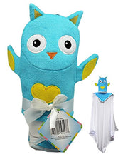 Blue Owl with Yellow Heart Bunchkin Puppet Towel