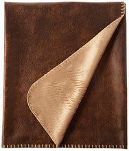 Terry Town DP1718-BROWN-1 Rustic Ranch Throw w/Bonded Beige Mink, Brown