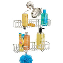 mDesign Extra Wide Metal Bathroom Tub & Shower Caddy, Hanging Storage Organizer Center with Built-in Hooks and Baskets on 2 Levels for Shampoo, Body Wash, Loofahs - Rust Resistant - Satin