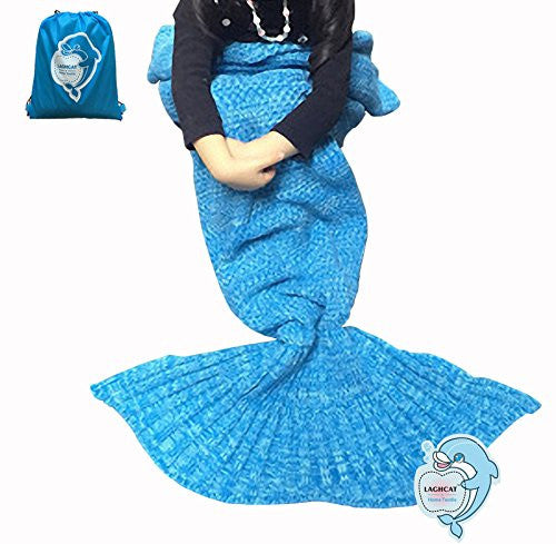 Laghcat Mermaid Tail Blanket Crochet Mermaid Blanket For Kids, Soft All Seasons Sleeping Blankets, C