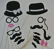 17 Photo Booth Props Stiffened Felt Lips, Hats Glasses Hats Mustache on a Stick