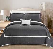 Chic Home Mesa 8 Piece Cover Set Hotel Collection Two Tone Banded Geometric Embroidered Quilted Bag Bedding, King, Grey