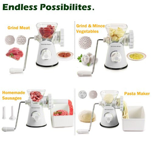 Kitchen Basics 3 N 1 Manual Meat And Vegetable Grinder Mincer, 3 Size Sausage Stuffer, Pasta Maker B