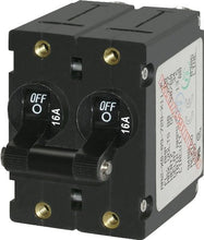 Blue Sea Systems A-Series Black Toggle Double Pole 16A Circuit Breaker