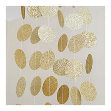 Gold Glitter Circle Dots Paper Garland 10 Ft Party Home Decoration Banner