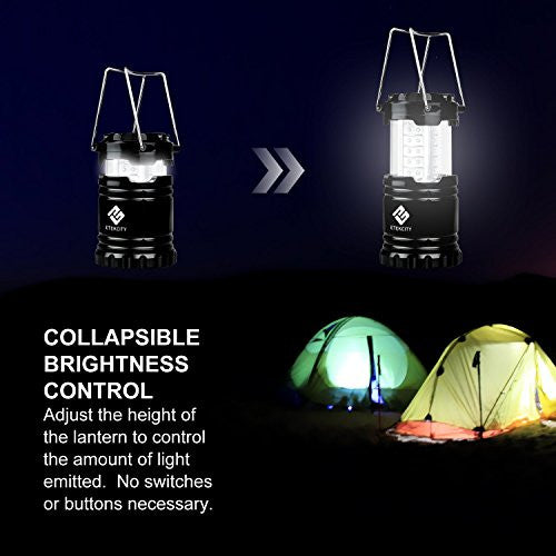 Etekcity 4 Pack Led Camping Lantern Portable Flashlight With 12 Aa Batteries   Survival Kit For Emer