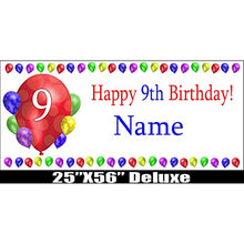 9TH BIRTHDAY BALLOON BLAST DELUXE CUSTOMIZABLE BANNER