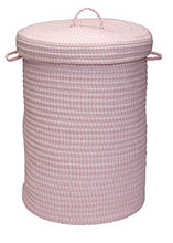 Solid Ticking Storage Hamper, 16 by 24-Inch, Pink