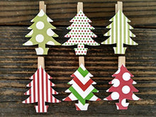 Sweet Thymes Christmas Tree Clothespins Decoration Kit Paper Cutouts Holiday Party Favors Gift Tag Party Clips Card Holder Display Drink Marker