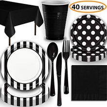 Disposable Tableware, 40 Sets - Midnight Black - Striped Dinner Plates, Dotted Dessert Plates, Cups, Lunch Napkins, Cutlery, and Tablecloths: Premium Quality Party Supplies Set