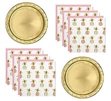 Pineapple Theme Palm Tree Fiesta Party Supplies for 16 Guests Including Gold Shiny Plates And Gold Foil Stamped Napkins