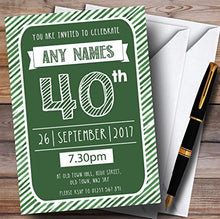Green & White Stripy Deco 40th Personalized Birthday Party Invitations