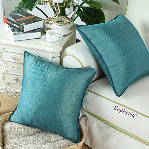 Cali Time Pack Of 2 Silky Throw Pillow Covers Cases For Couch Sofa Bed Modern Light Weight Dyed Strip