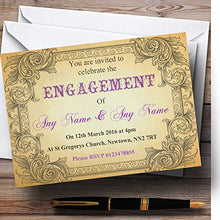 Typography Vintage Purple Postcard Personalized Engagement Party Invitations