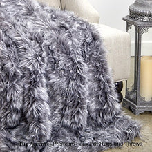 Sumptuous Luxury Faux Fur Throw Blanket - Designer Quality - Fur Accents - Made in America (58''x80'', Gray Multi Lynx)