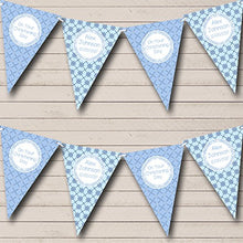 Blue Diamond Patterns Personalized Christening Baptism Bunting Banner Garland