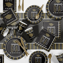 Large Silver And Gold Glitz Graduation Party Supplies Kit, Serves 24
