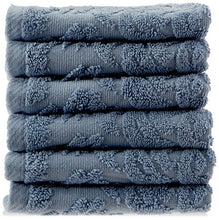 Chortex Premier Collection Baroque 100% Turkish Cotton Washcloth (Pack of 6), Dusky Blue, 13