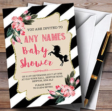 Black & White Floral Unicorn Invitations Baby Shower Invitations