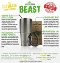 Image of Beast 30 Oz Teal Tumbler Stainless Steel Insulated Coffee Cup With Lid, 2 Straws, Brush & Gift Box B