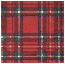 Caspari -  Plaid Party Napkins, Red and Green, (Pack of 20)