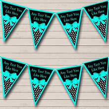 Turquoise Teal And Polkadot Personalized Birthday Party Bunting Banner Garland