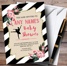 Black & White Floral Ballerina Ballet Invitations Baby Shower Invitations