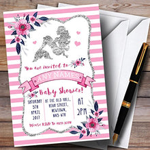 Silver & Pink Mermaid Invitations Baby Shower Invitations
