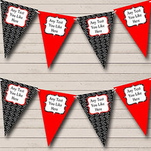 Red And Black Hearts Personalized Birthday Party Bunting Banner Garland